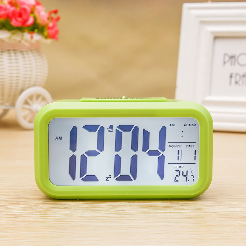 Digital Electronic Alarm  Clock With Lcd Backlight Time Calendar Thermometer green