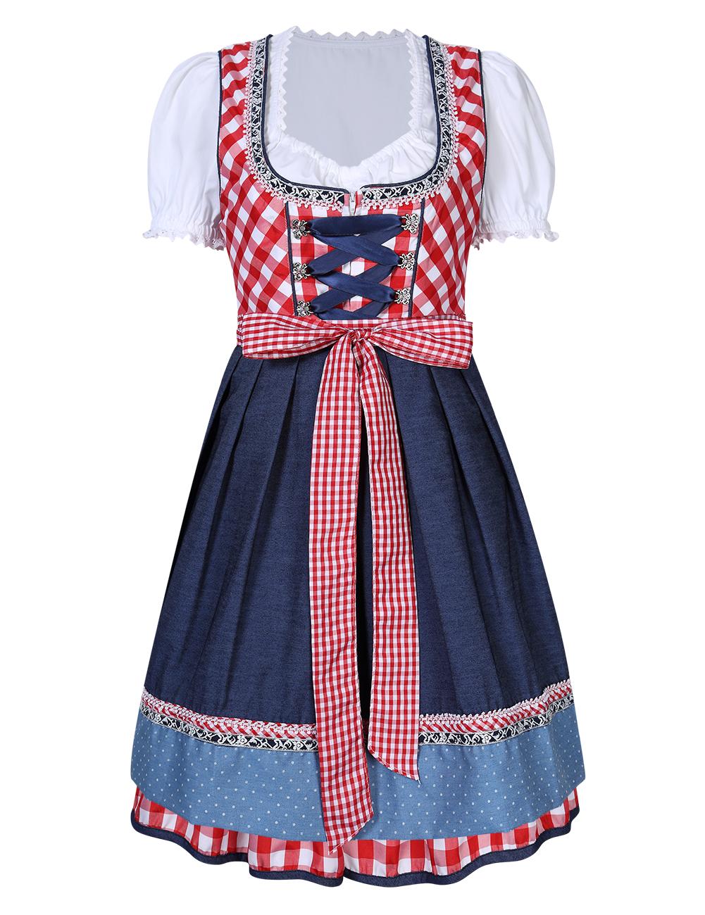 Kojooin Women's German Dirndl Dress 3 Pieces Oktoberfest Costumes Red_Red plaid