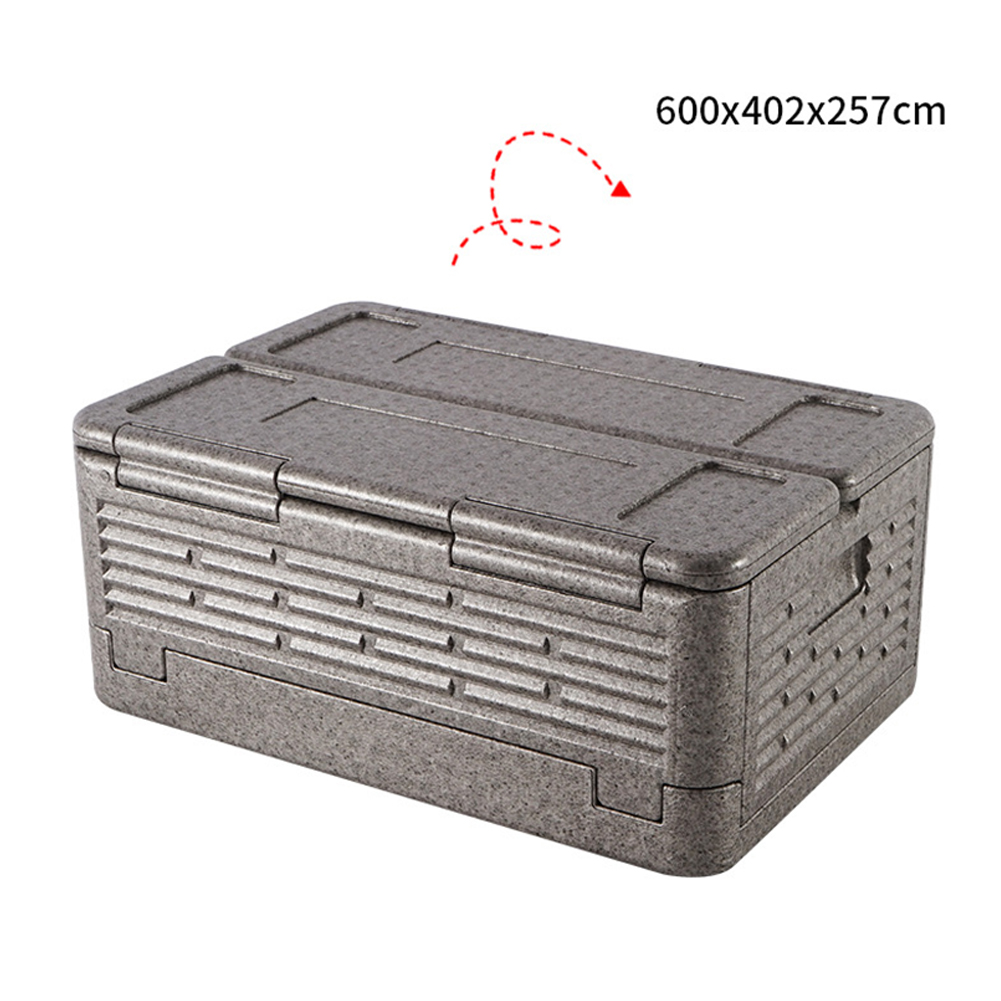 Portable Folding Incubator Outdoor Picnic Large Capacity Container Food Refrigerator gray