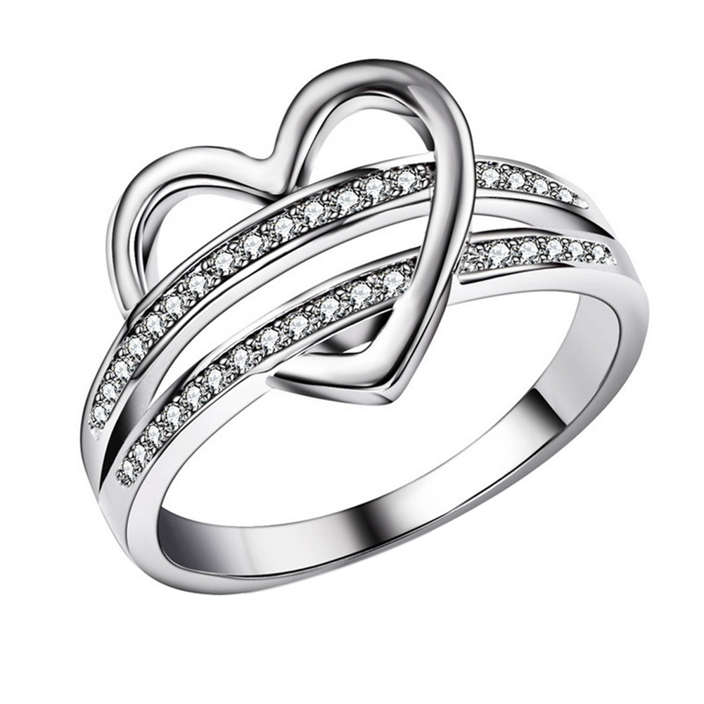 Fashion Simple Heart Shape Ring Leisure Elegant Couple Rings Ornament Valentine's Day Gift
