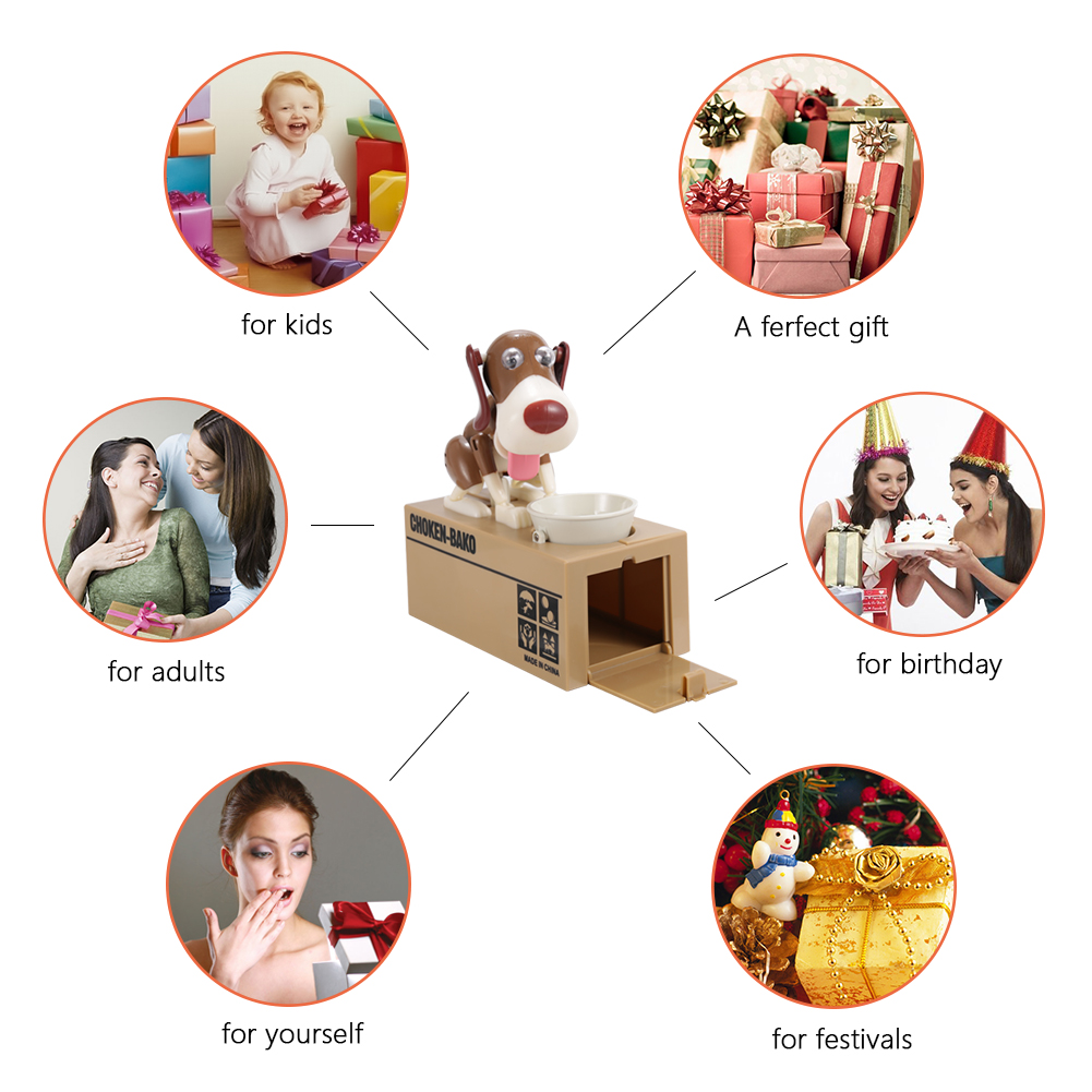 [US Direct] Dog Style Coin Money Box Piggy Bank Collecting Saving Money Bank Color Brown