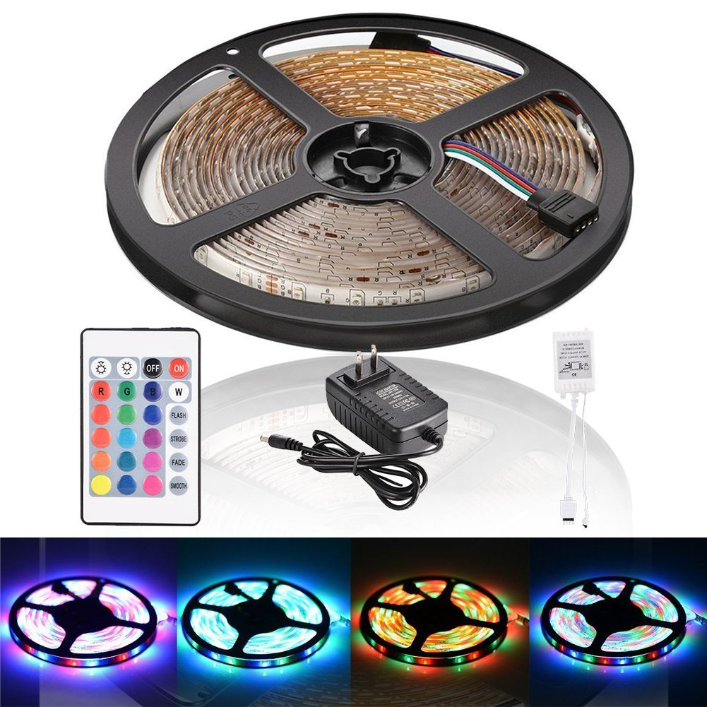 [US Direct] Litake 5M/16.4ft 300 LED SMD 3528 Strip Light RGB Color Changing Water-resistant DC 12V Light Kit with Adhesive Tape 24 Key Remote Control