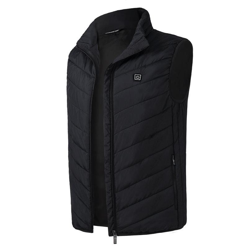 Electric Vest Heated Jacket USB Thermal Warm Heated Pad Winter Body Warmer black_M