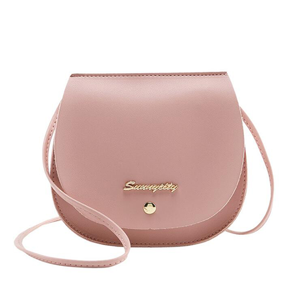 Women Mini Round Bag Satchel PU Leather Solid Color Single Strap Simple Cross-body Bag Pink