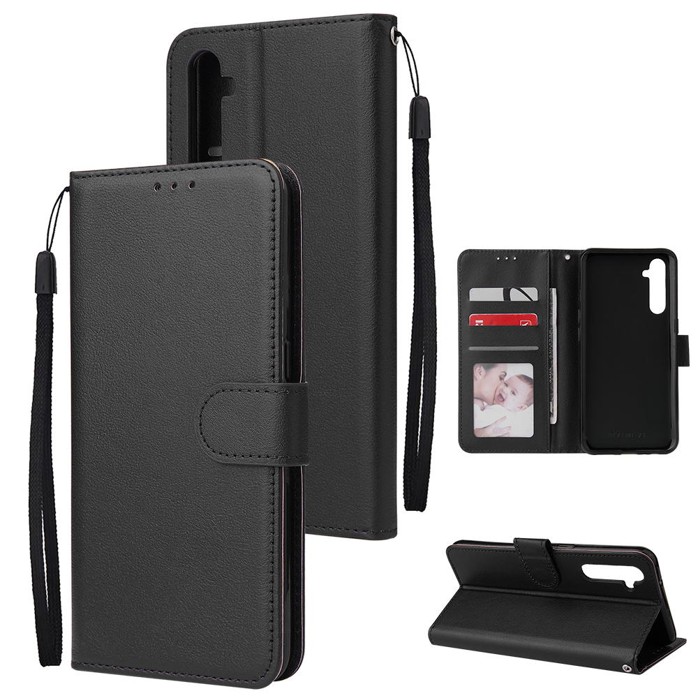 For OPPO A8 / A31/Realme XT / X2 Mobile Phone Case PU Buckle Closure Wallet Design Cards Slots All-round Protection Phone Cover  black