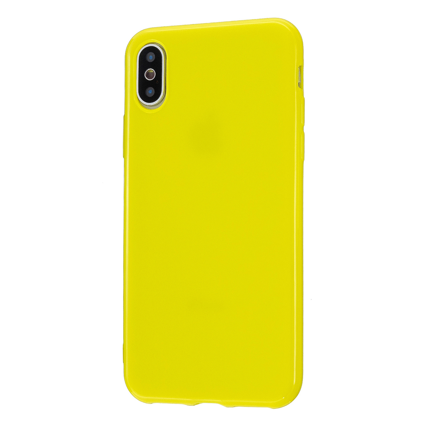 For iPhone X/XS/XS Max/XR  Cellphone Cover Slim Fit Bumper Protective Case Glossy TPU Mobile Phone Shell Lemon yellow