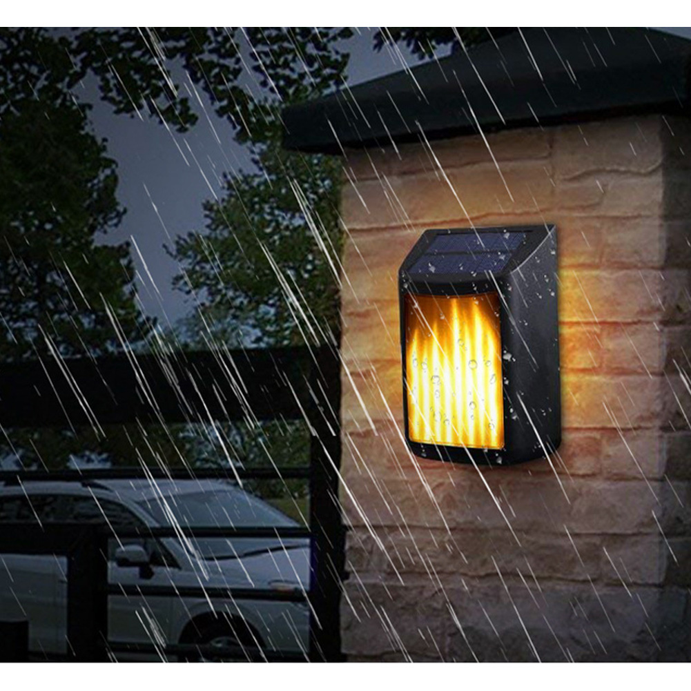 Led Solar Wall Light Outdoor Waterproof Rechargeable Landscape Flame Light warm light