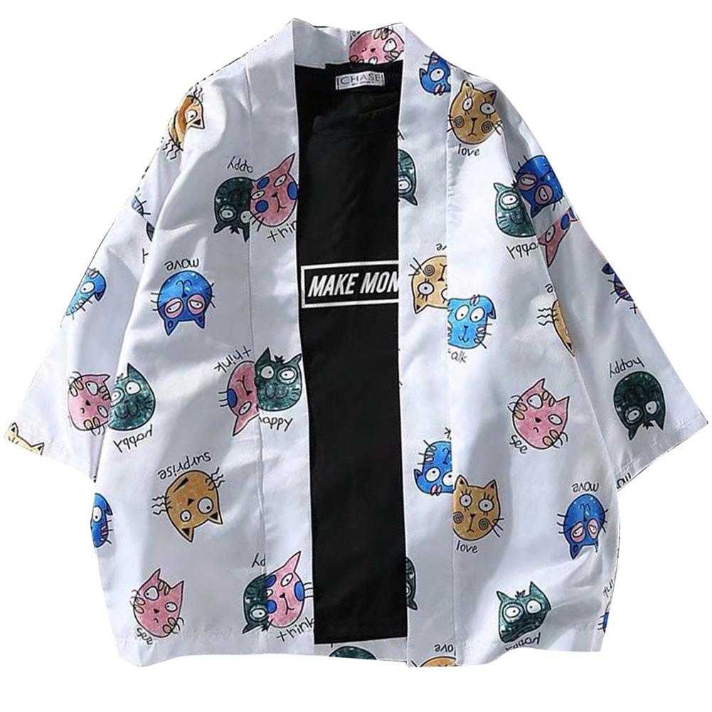 Men Women Cute Cat Printing Kimono Sunscreen Cardigan Shirt 1922 cat white_XXL