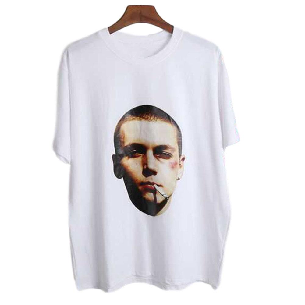 Men's and Women's T-shirt Retro Style Printing Pattern Short-sleeve T-shirts White _XXXL