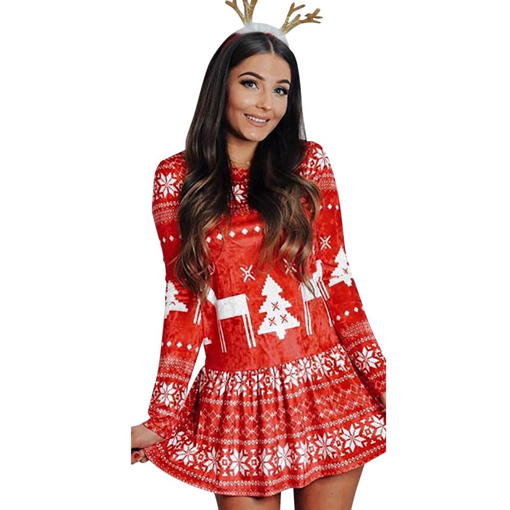 Women's Dress Slim Long-sleeve Crew-neck Printing Short Skirt red_XL