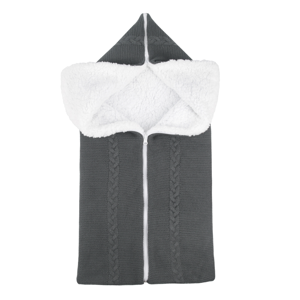 Bunting Bag Outdoor Wool Knitted Thick Warm Blanket Multifunctional Sleeping Bag for Infants and Newborns Dark gray