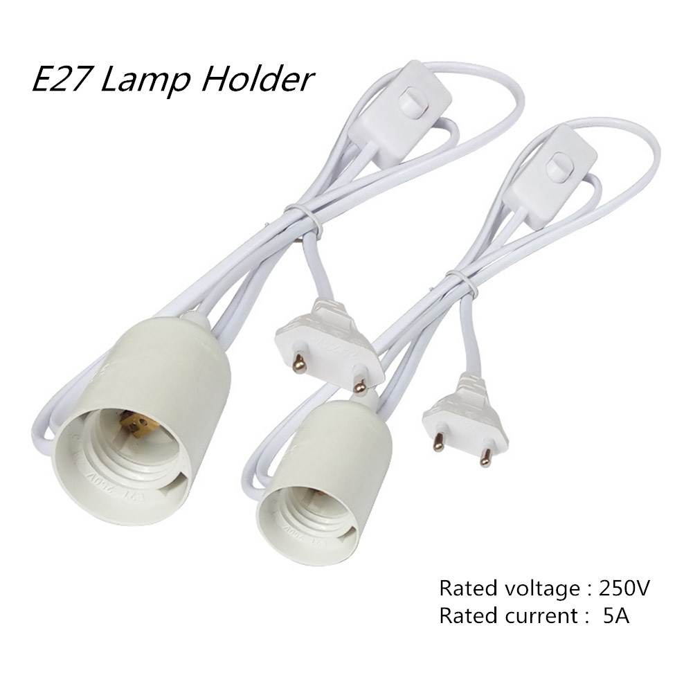 E27 Hanging Lamp Holder with 1.8M Cord & On/Off Switch EU Plug (White) European white