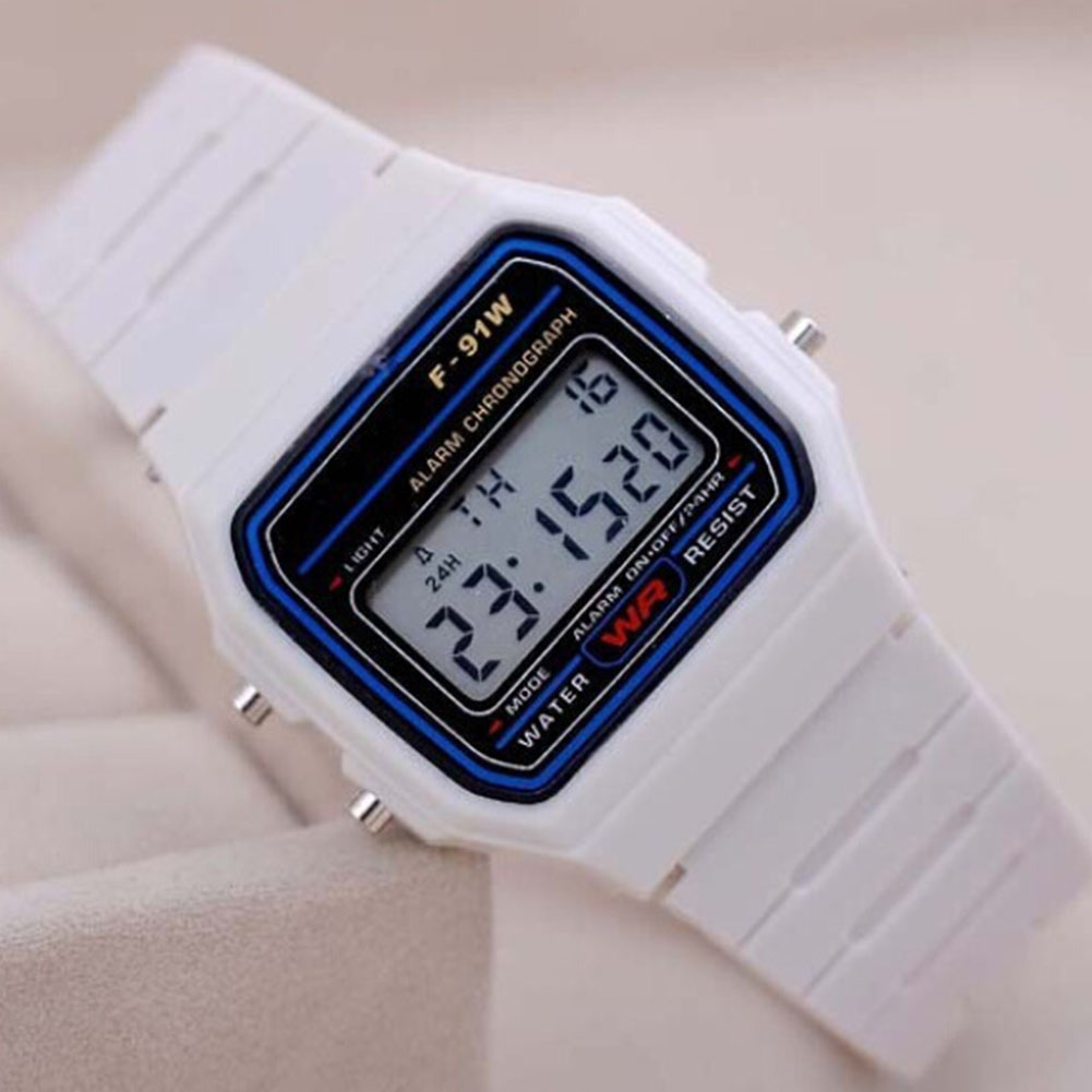 Electric Sport Watch LED Digital Waterproof Quartz Wrist Watch Gifts for Boys and Girls White