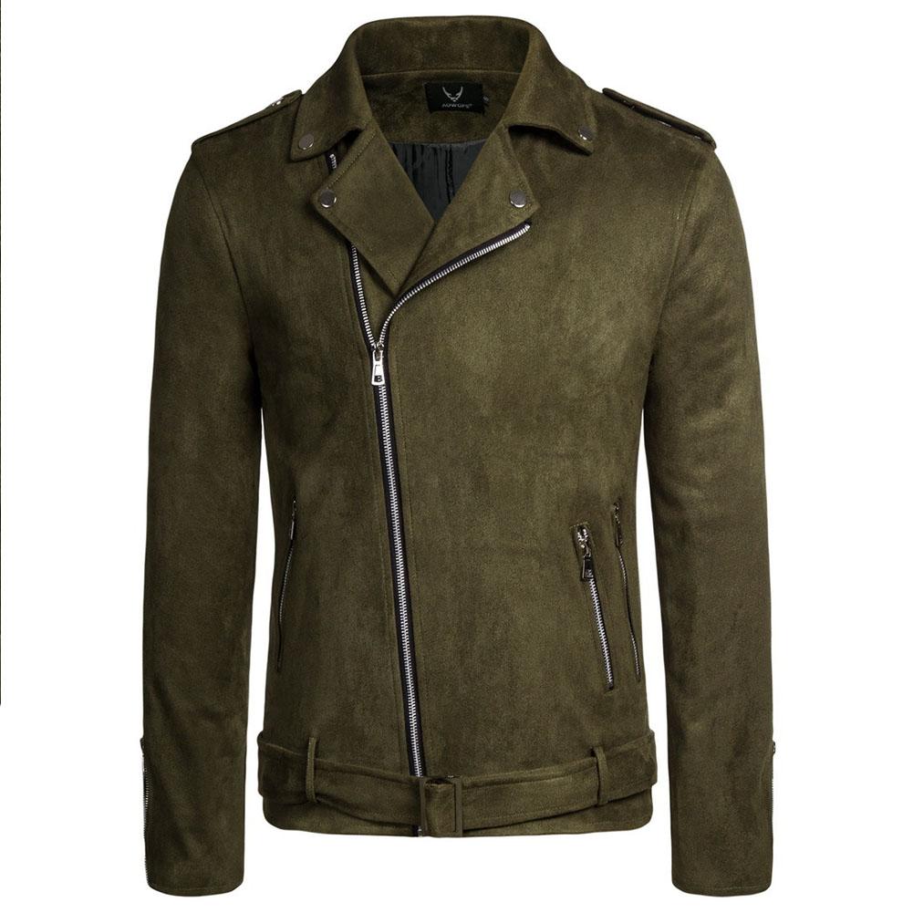 Men's Jackets Autumn Diagonal Zipper Solid Color Lapel Casual Jacket olive green_2XL
