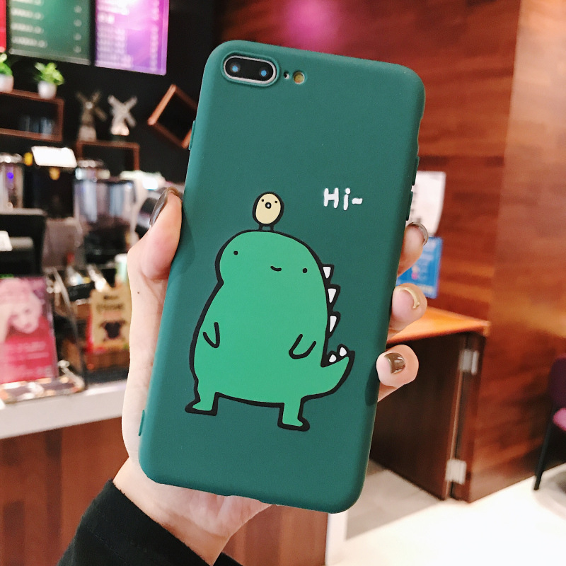Couple Cute Cartoon Yellow Green Small Dinosaur Mobile Phone Protection Shell Phone Case Phone Cover For OPPO ArmyGreen_OPPO K1/R15X