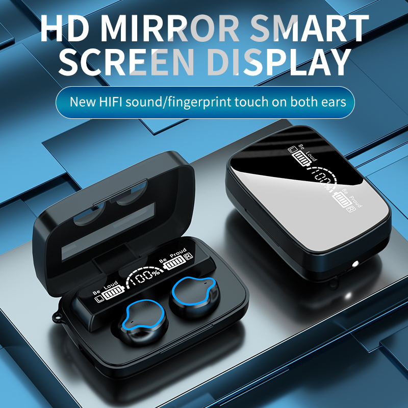 1 Pair Of M9 Bluetooth  5.1  Headset Binaural Tws Touch Wireless Headphone With Electric Quantity Display black