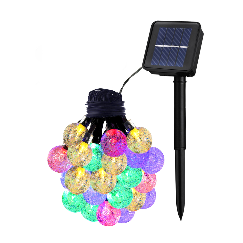 Solar String Lights, Waterproof outdoor Globe Lights,8Modes Fairy Orb Crystal Ball Lighting for Christmas, Garden, Patio, Wedding(20ft,8 Modes,4 Multi-color for Red Yellow Blue Green)
