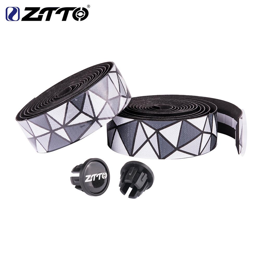 ZTTO Road Bike Bar Tape Handlebar EVA PU Tape Shock-Proof Roadbike High Toughness Bartape With Bar Plug Black and white