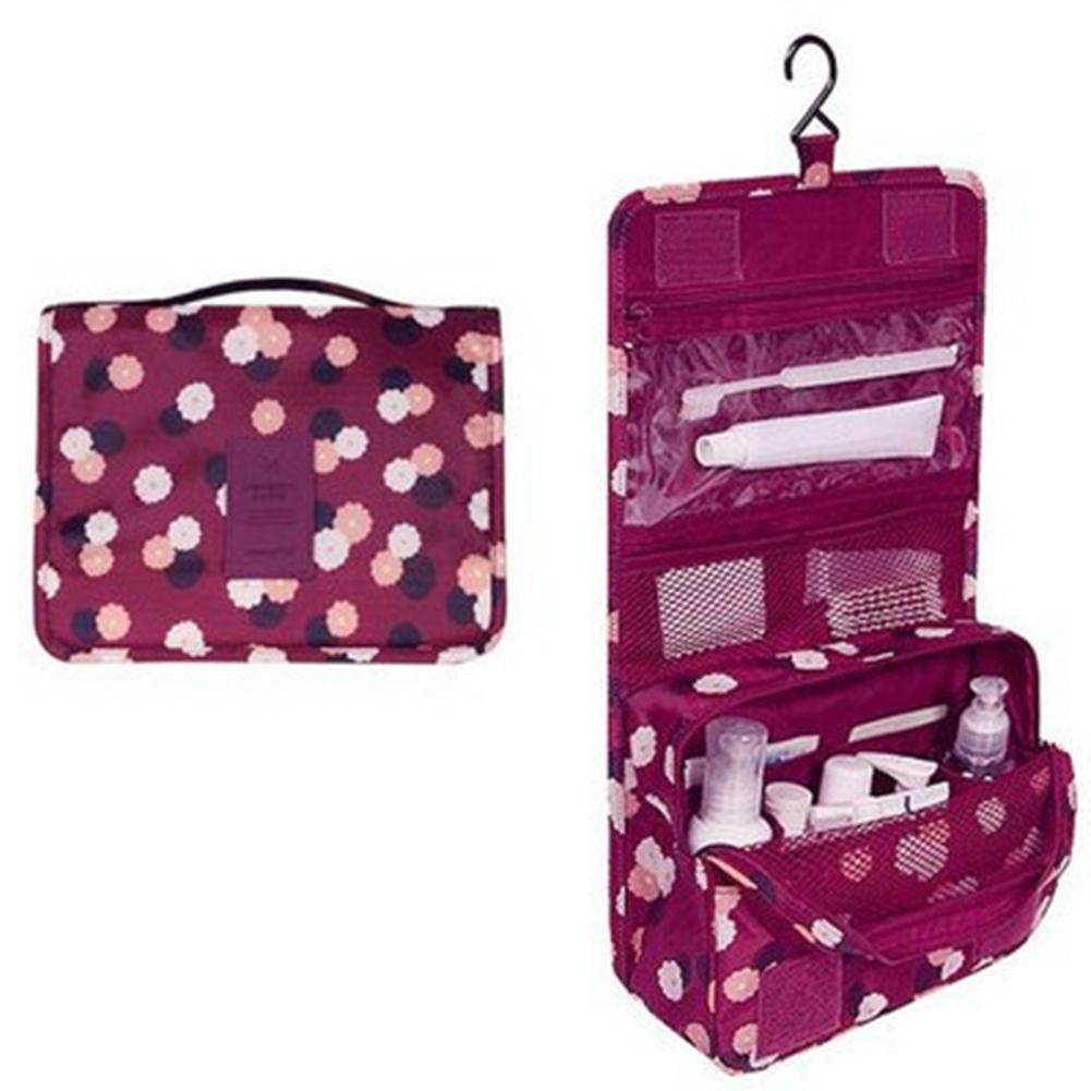 Cosmetic Bag Waterproof Organizer Hanging Women Wash Toiletry Kits Make Up Bag Travel Bathroom Wine red flowers
