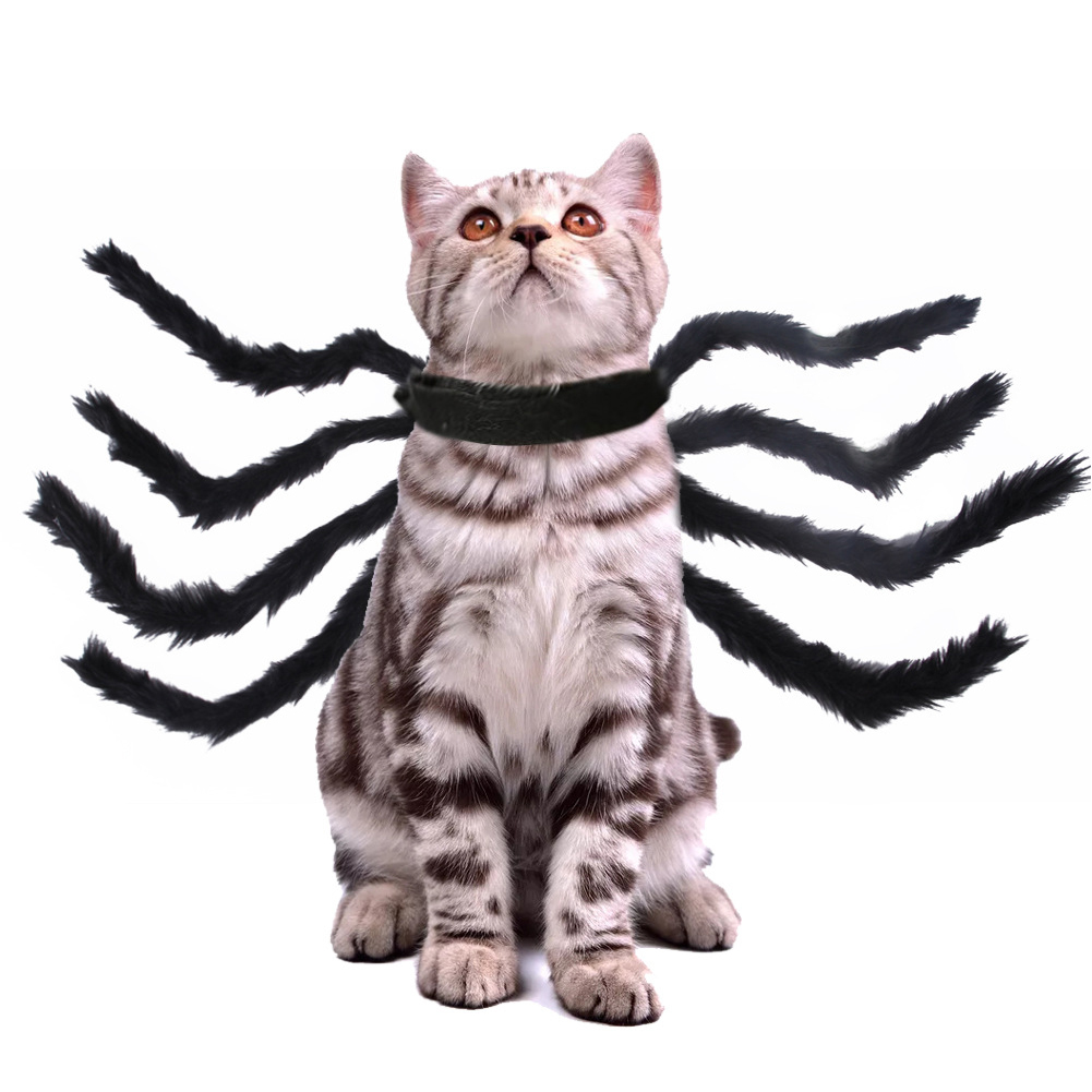 Spider Shape Clothes Pet Halloween Christmas Chest Back Strap Costume for Small Dogs Cats black_M