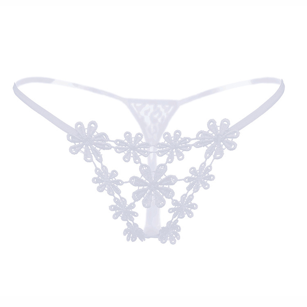 Women G-string Lace Floral See-throught Low Waist Sexy Underwear Erotic Briefs Panties white_One size
