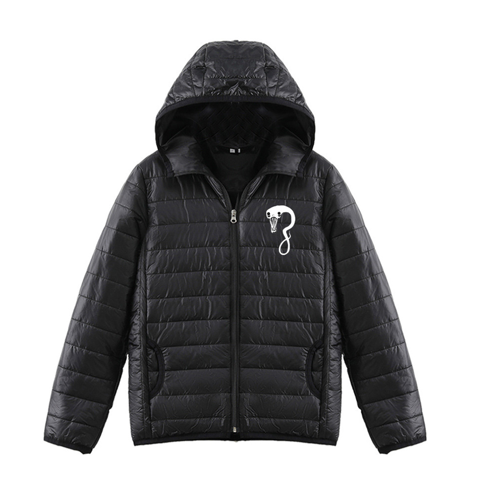Thicken Short Padded Down Jackets Hoodie Cardigan Top Zippered Cardigan for Man and Woman Black D_M