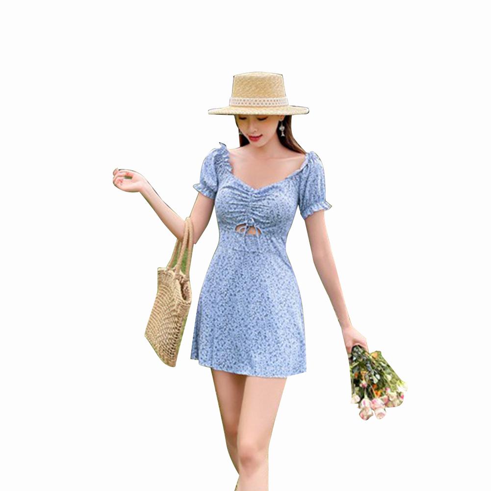 2 Pcs/set Women Swimming Suit Floral Printing One-piece Skirt-style Swimwear+ Shorts blue_L