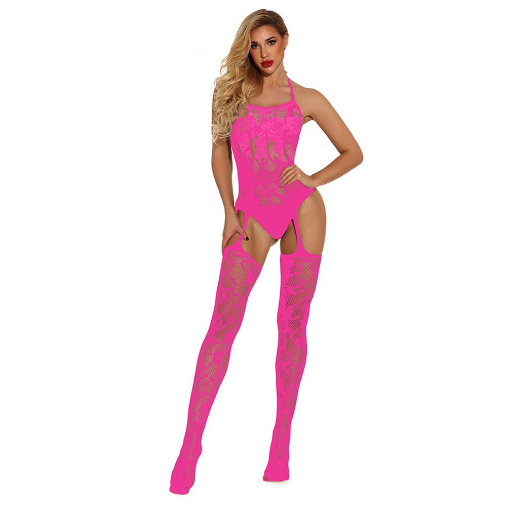 Women Plus Size Sexy Lingerie Erotic Sex Costumes Underwear Close Fitting Bodysocks Pink_free size