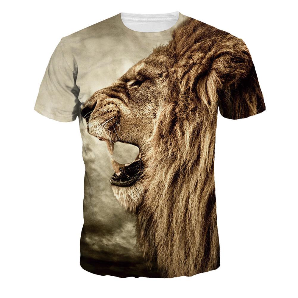 Men Women Fashion 3D Tiger Digital Printing T-shirt Round Neck Short Sleeve Tops NA188_M