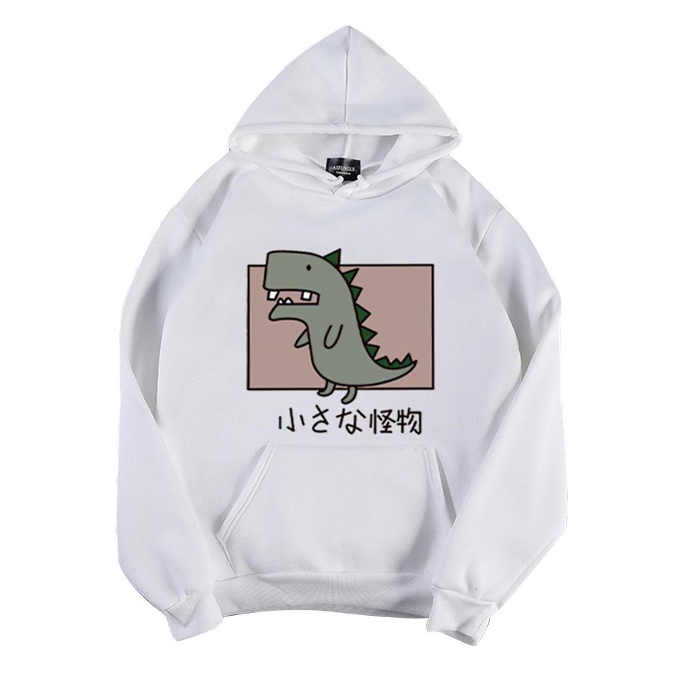 Boy Girl Hoodie Sweatshirt Cartoon Dinosaur Printing Spring Autumn Loose Student Pullover Tops White_M