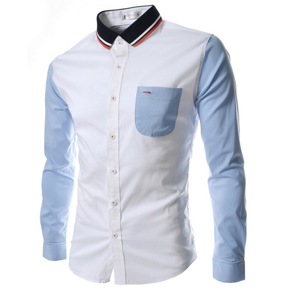 Male Leisure Shirt Long Sleeves and Turn Down Collar Top Single-breasted Cardigan white_XXL