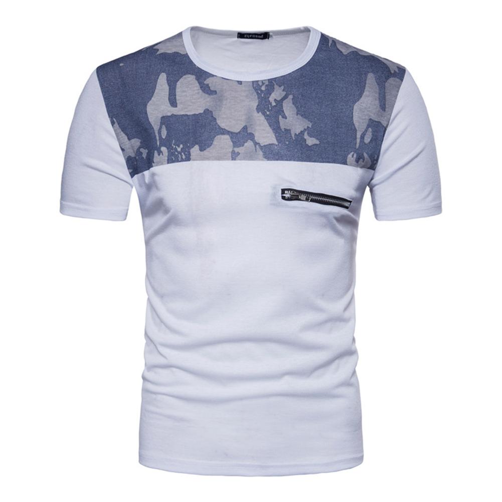 Men Fashion Slim Short Sleeve Color Matching Round Collar T Shirt white_M