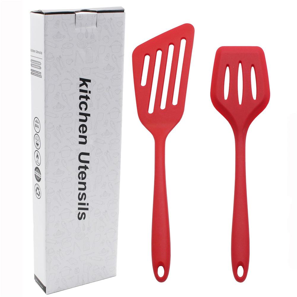 2-piece  Set  Silicone  Kitchenware  Set Bpa Free Non-stick Oblique Grilling Steak Spatula Red