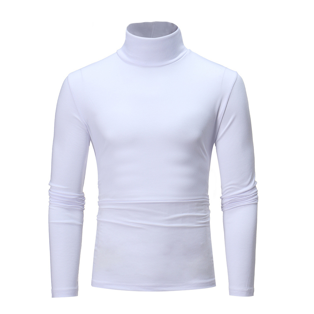 Men High Collar Pullovers Solid Color Long Sleeve High Collar All-matching Tops  white_XL