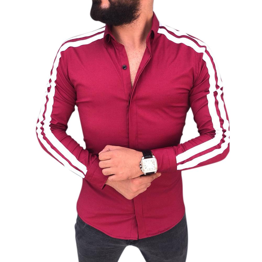Men Stylish Casual Matching Dress Shirt Slim Fit T-Shirt Long Sleeve Formal Tops red_L