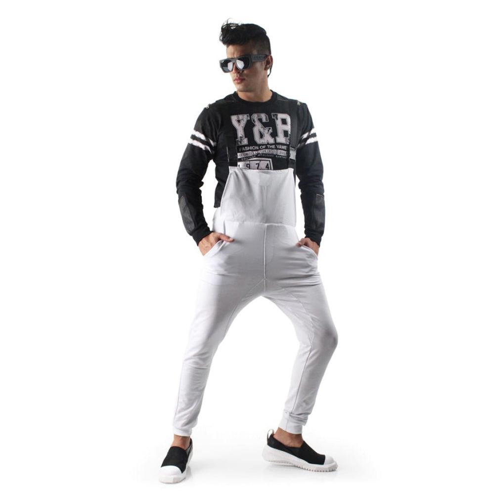 Men Slim Cotton Middle Waist Suspender Trousers white_L