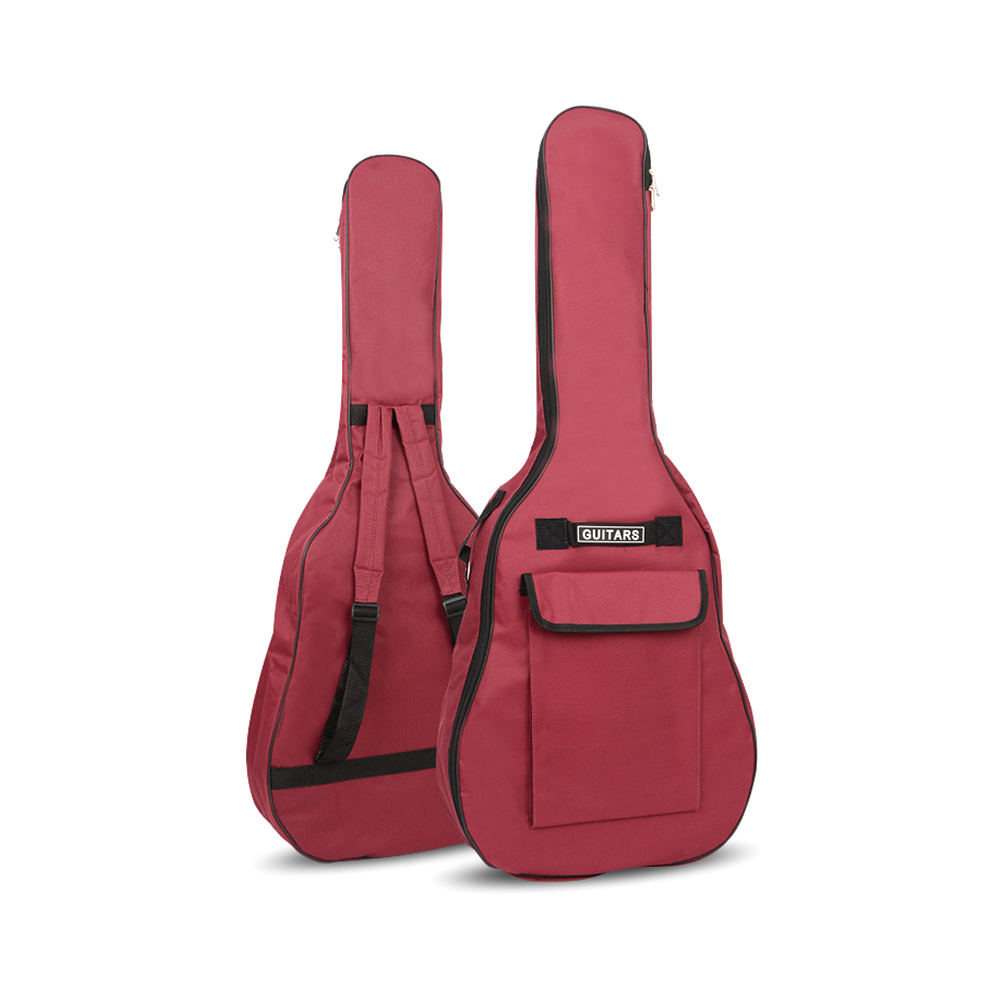 40/41 Inch Oxford Fabric Acoustic Guitar Gig Bag Soft Case Double Shoulder Straps Padded Guitar Waterproof Backpack red