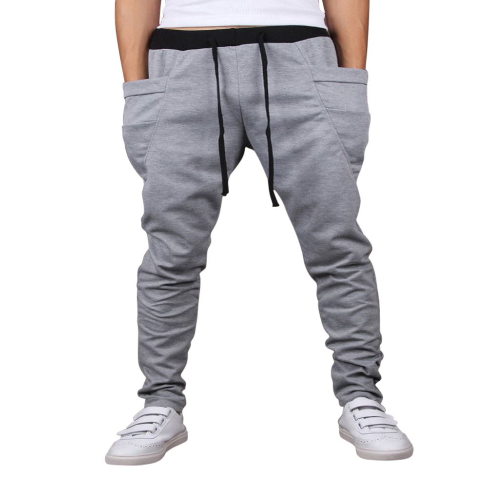 Men Solid Color Middle Waist Casual Harem Pants Light gray_M (28-29)