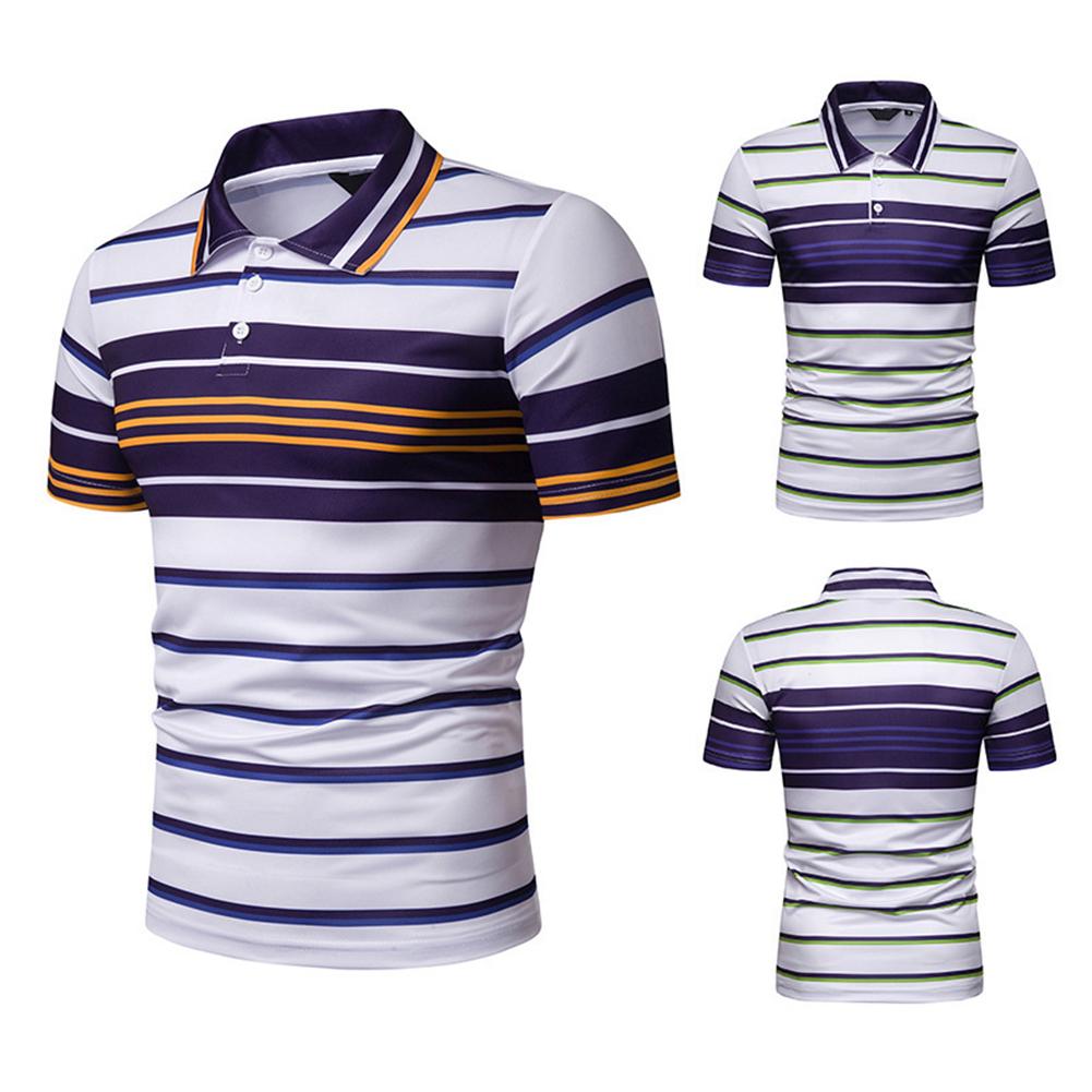 Men Summer Shirts Color Matching Stripes Lapel Collar Slim Tops  yellow_M