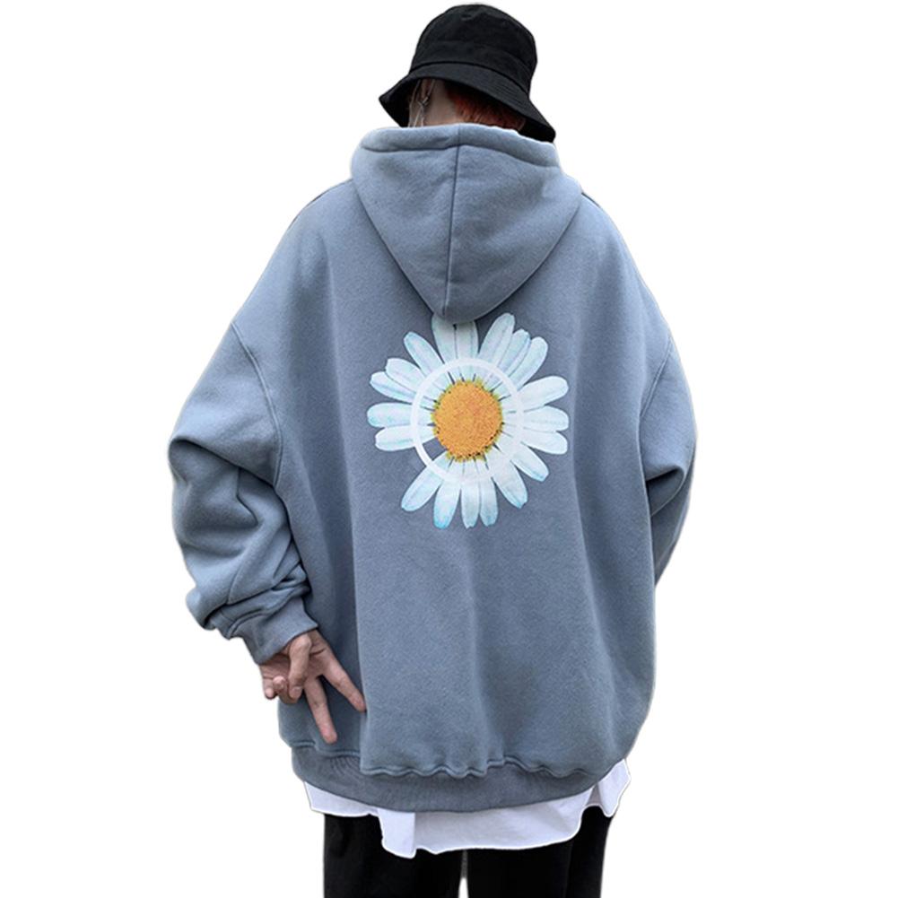 Men Women Hoodie Sweatshirt Chrysanthemum Printing Simple Unisex Pullover Tops Blue_XXXL