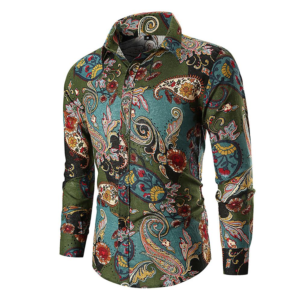 Men Fashion Cool Printing Casual Long Sleeve T-shirt green_3XL