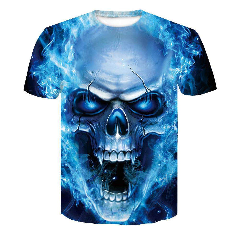 Unisex Delicate 3D Skull Printing Round Collar Fashion T-shirt Blue skull _S