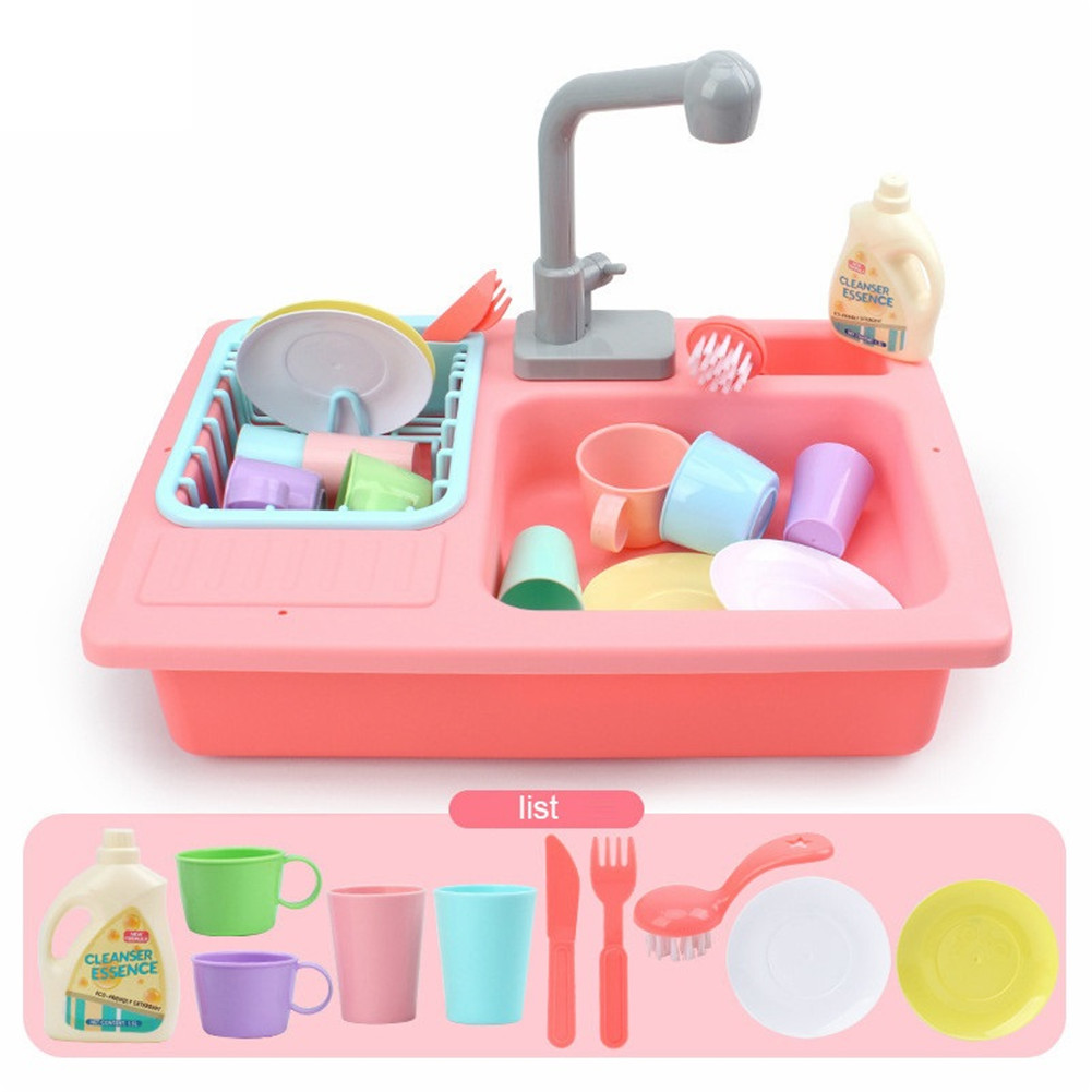 Children Simulation Faucet Kitchenware Water Dishwasher Tableware Pretend Game Tool Educational Toys red