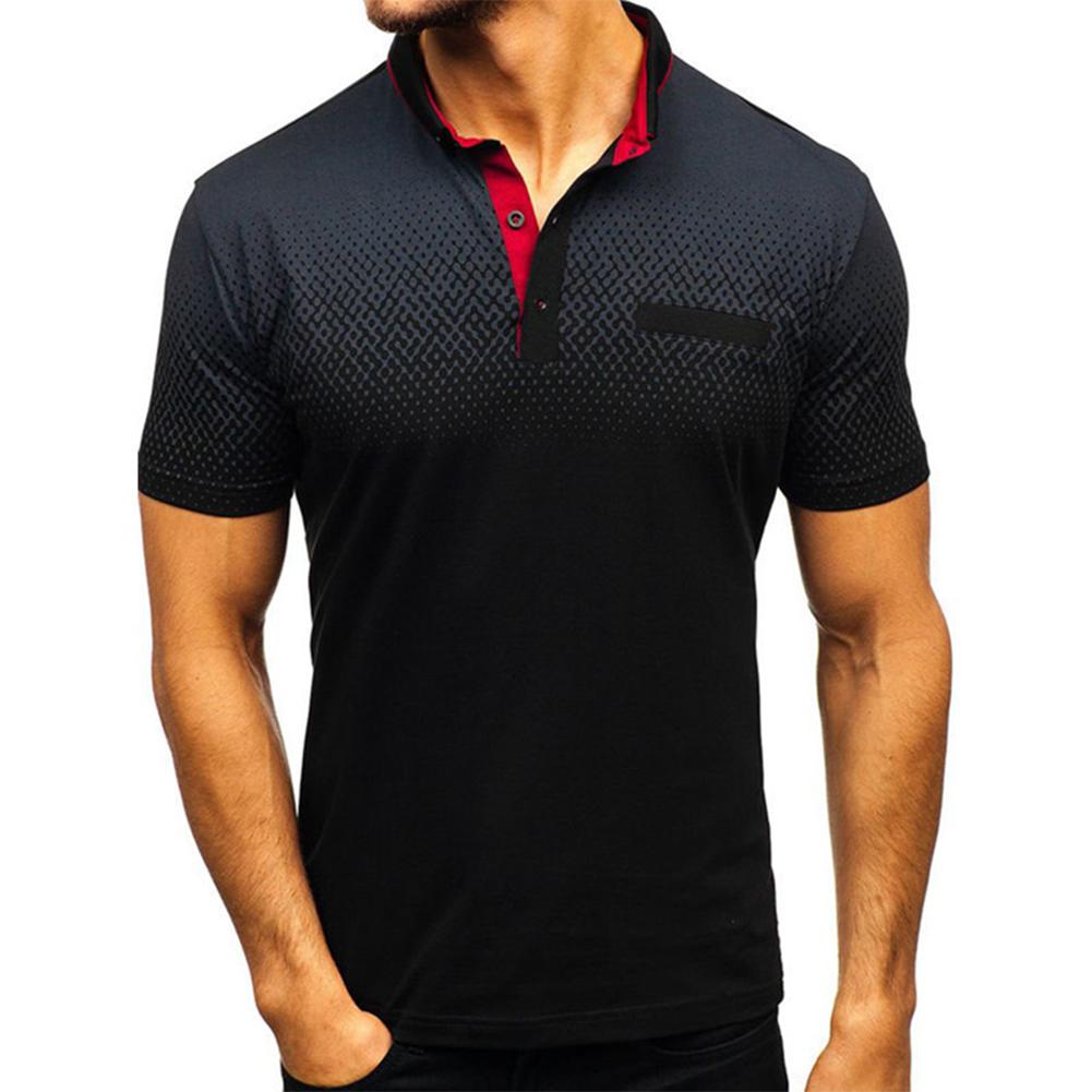 Man Summer 3D Printing Short Sleeves Lapel Polo Shirt  black_L