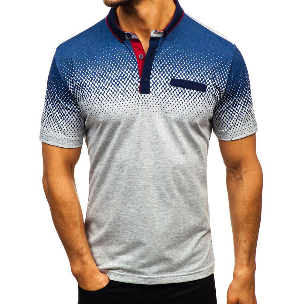 Man Summer 3D Printing Short Sleeves Lapel Polo Shirt  gray_XL