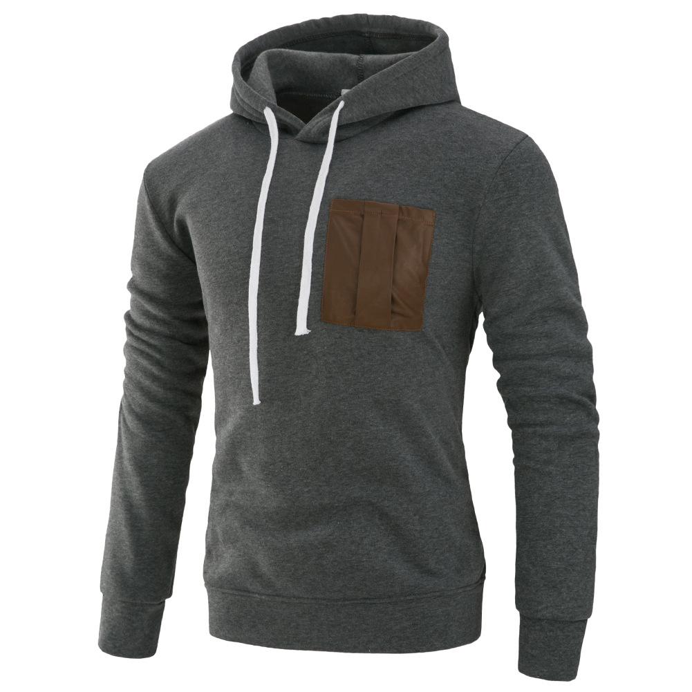 Men Fashion Long Sleeve Hooded Casual Pullover Sweatshirt Tops Dark Gray_L