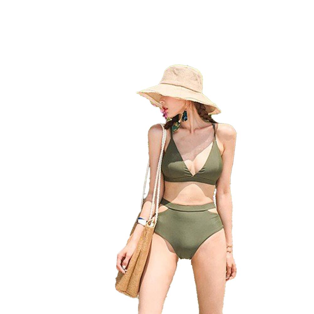 Women  Split  Swimsuit High Waist Sexy Bikini Solid Color Two-pieces Swimwear Photo Color_L