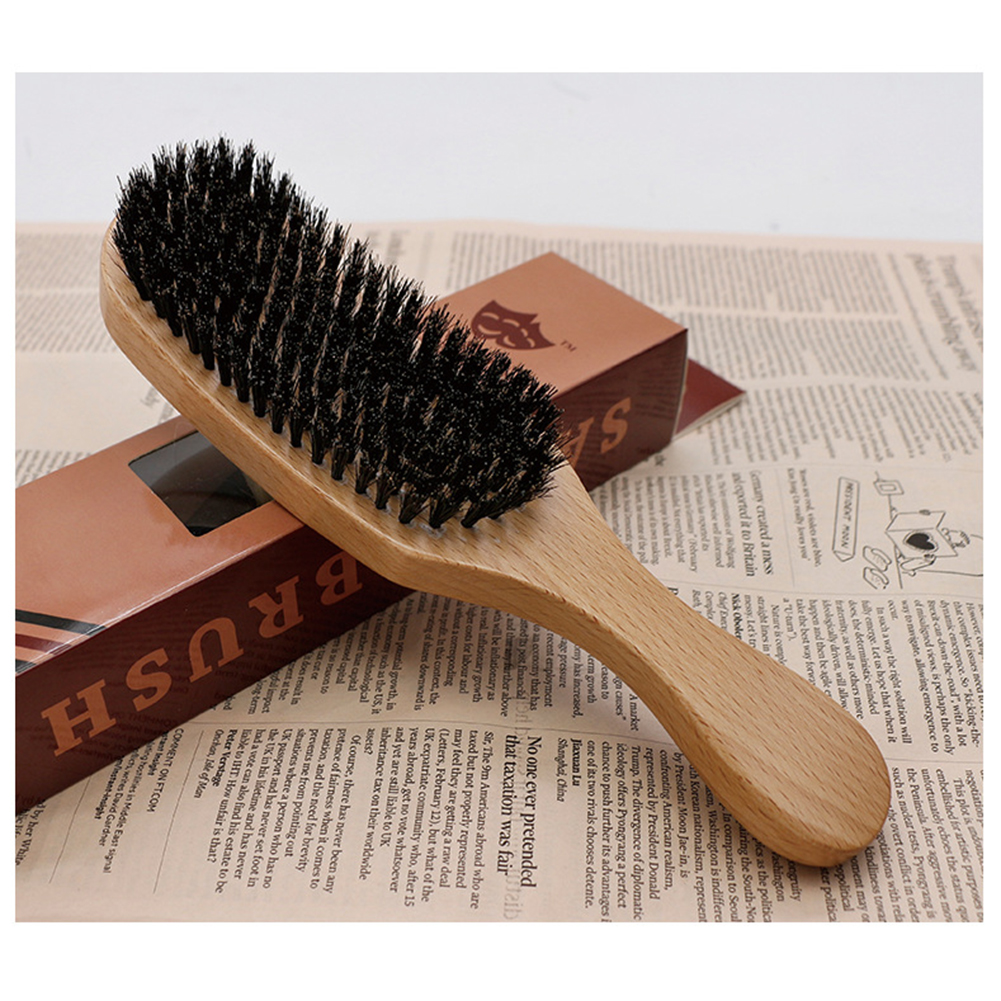 Pig Bristle Wave Brush Hair Comb Hair Beard Comb Large Curved Comb  wood color handle_Normal specifications