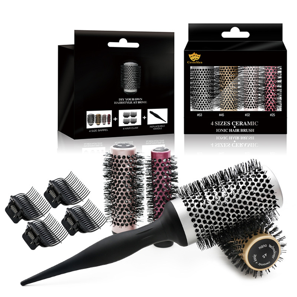 4 Sizes Roller Round Brush Set Ceramic Ionic Hairdressing Brushes Hair Round Comb Curling Hairbrush 4 Sizes Roller