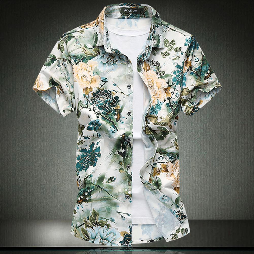 Men Summer Leisure Floral Elastic Cotton Short-sleeved Shirt green_L